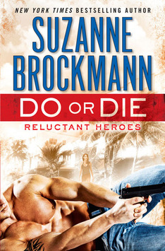 book cover for Do or Die by Suzanne Brockmann, showing a shirtless man on the ground pointing a gun, with a womanin the background surrounded by Florida palm trees in a storm