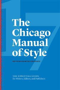 Book cover with blue background and white lettering for The Chicago Manual of Style 17th edition