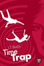Book cover for Time Trap by J.T. Bock, a sci-fi romance edited vy Romance Refined editor Rachel Daven Skinner. Image of 2 bodies in white silhouette falling through the air against a pink background of a swirling vortex.