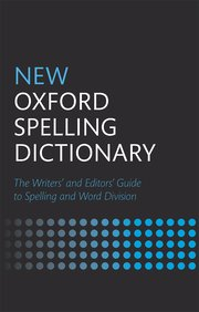 Book cover with black background and blue and white lettering for the New Oxford Spelling Dictionary