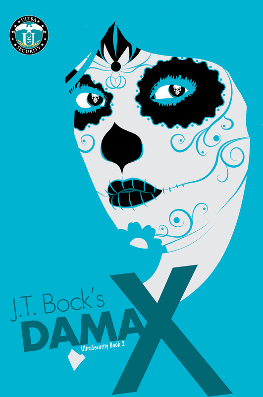 Book cover for recent published book edited by Romance Refined: Dama X by J.T. Bock. Book cover is a drawing of a woman's face painted to look like a skull