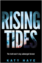book cover for Rising Tides by Katy Haye, a book edited by Romance Refined editor Rachel Daven Skinner. Book cover shows a black background and transparent letters for the title which reveal a girl's face through the lettering