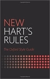 Book cover with black background and red and white lettering for the New Hart's Rules